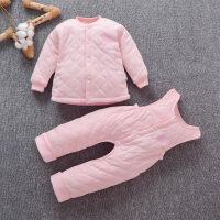 女宝宝棉衣背带裤套装秋冬款1岁男童两件套薄棉幼儿6个月纯棉保暖