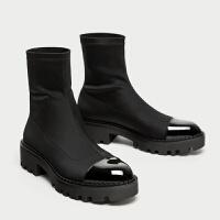 女鞋2018秋冬新款粗跟短靴平底中筒弹力靴厚底网红袜子靴女靴lkf 黑色.单里 建议拍小一码