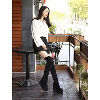 长筒靴女过膝冬季新款厚底内增高150小个子长靴高筒瘦腿弹力靴子SN7430 黑色 直桶 30 标准码