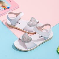 女童凉鞋2019新款韩版儿童真皮防滑沙滩鞋夏季魔术贴中大童公主鞋