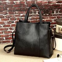 女包手提包简约托特包春时尚大容量斜挎包女士包包单肩包 黑色