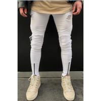 2018春季潮流男士修身牛仔裤青年水洗小脚裤破洞男式四季长裤子