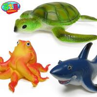 锤头鲨鱼玩具海洋动物模型仿真鱼玩具软胶座头鲸模型海豚