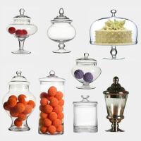 欧式创意糖果罐高脚带盖玻璃储物罐家居工艺品装饰摆件