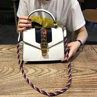 明星同款包包2018新款彩绳手提女包酒神包时尚锁扣单肩斜跨小方包SN8980