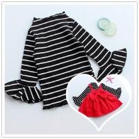 喇叭袖条纹T 女童秋装上衣宝宝长袖t恤 0-1-2-3岁纯棉婴儿打底衫