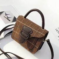 上新小包包2018新款韩版时尚毛呢社会女手提包撞色单肩斜跨包女包