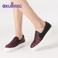 exull/依思Q2格子松糕底女鞋