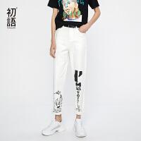 【夏装清仓价】初语白色牛仔裤女2019夏装新款趣味印花棉质显瘦修身休闲长裤女