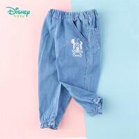 【2件3折到手价:67.5】迪士尼Disney童装 女童花边牛仔裤年春季新品薄款纯棉长裤迪斯尼宝宝裤子简约百搭