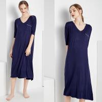 薄款新大码莫代尔孕妇睡衣女夏天睡裙长款性感宽松可外穿家居服