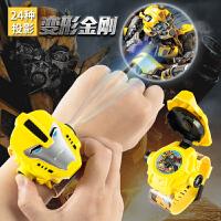 电子表玩具3-4-5-6岁男变形金刚儿童投影手表抖音社会人手表