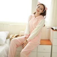 兔子耳朵连体睡衣女冬天珊瑚绒可爱卡通动物情侣学生春秋韩版
