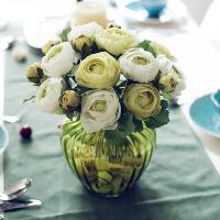 茶玫仿真花套装欧式典雅客厅花艺装饰品绣球花玫瑰花假花仿真花花瓶花艺装饰摆件