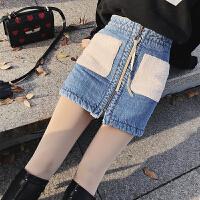 高腰牛仔半身裙女2018春季韩版羊羔毛拼接包臀修身打底a字短裙潮 蓝色