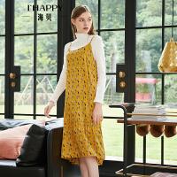海贝2018秋季新款甜美圆领黄色印花中长款吊带裙sukol裙内搭单穿