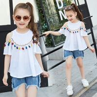 童装女童套装夏季新款儿童牛仔短裤露肩短袖两件套小女孩衣服