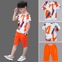 儿童装男童夏装新款中大童男孩运动短袖套装韩版