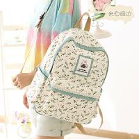 帆布双肩包女日韩版潮高中学生书包电脑包背包休闲小清新dh