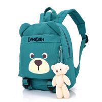 儿童书包帆布环保小朋友小熊卡通大小号双肩背包1-3-5岁幼儿园