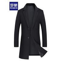 「狂欢!特价商品到手价:399」Romon/罗蒙毛呢大衣男中年加棉厚大衣中长款羊毛大衣保暖外套