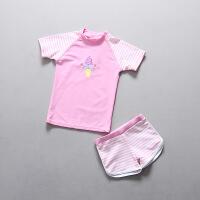 女童泳衣韩国儿童宝宝游泳衣防晒分体平角泳装 粉色墨镜冰淇淋