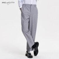 【1件3折价:92.7】MECITY男装秋季时尚条纹羊毛商务西裤男士休闲西装裤