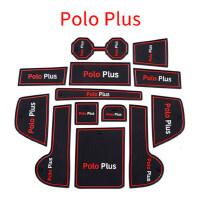大众11-18款POLO波罗改装配件汽车内饰水杯垫车载防滑垫装饰发光 POLO PLUS 黑红