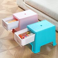 彩色可叠加收纳凳创意多功能椅子储物凳大号可坐人换鞋凳子塑料凳