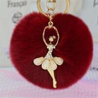 创意可爱水钻天使汽车钥匙扣女包挂件毛绒獭兔毛球钥匙链吊坠-钥匙扣毛绒挂件