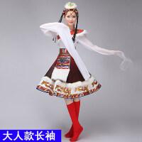 新款藏族舞蹈服装女演出服水袖舞蹈服演出服装广场舞表演服短