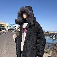 毛领棉衣男加肥大码潮中长款厚外套宽松冬季工装
