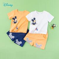 迪士尼Disney童装 男童米奇肩开短袖套装夏季新品贴袋T恤短裤2件套潮192T910