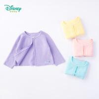 【2件3折到手价:61.5】迪士尼Disney童装 女童外套纯棉针织衫春季新款素色上衣外搭宝宝插肩袖休闲衣服191S1