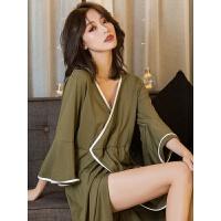 睡袍女中长款秋季长袖舒适和服家居服套装性感睡衣女可外穿 均码