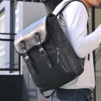 袋鼠潮流时尚男士背包日韩版大容量黑色PU皮书包男休闲青年双肩包