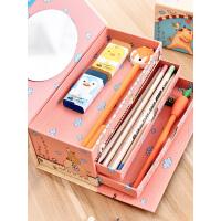 男女铅笔盒小学生学习文具三层手提密码文具盒卡通可爱儿童收纳盒