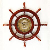 地中海风格装饰品挂钟实木船舵舵手方向盘挂钟挂表壁饰壁挂