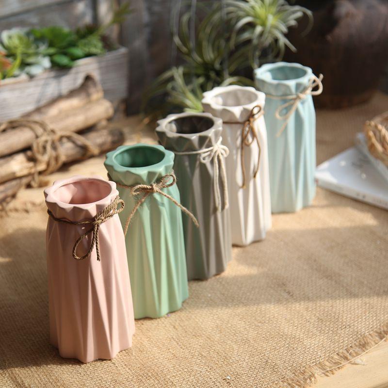 幸阁 糖果色折纸麻绳陶瓷花瓶 家居装饰仿真花工艺品支付礼品卡 美到自然 田园清新