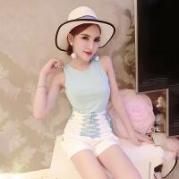 套装女夏2018韩版新款时尚甜美裸色无袖背心+绑带短裤俩件套女潮 蓝衣白裤