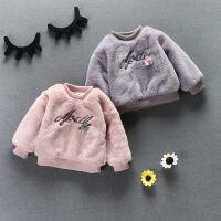 童装冬装新款韩版女童加厚保暖百搭刺绣毛毛卫衣外套潮B9-S37