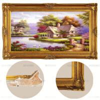 手绘欧式客厅田园风景油画 别墅餐厅挂画玄关天鹅装饰画 巧克力色 欧式角花画框 120*220 单幅