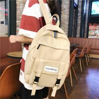 纯色双肩包女高中学生书包学院风百搭时尚大学生电脑包旅行包