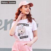 美特斯邦威短袖T恤女宽松2018夏装新款个性半袖上衣韩版街头潮流