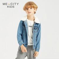 【全场2件2.5折,到手价:99.8】米喜迪mecity童装秋新款男童后背织带装饰毛领牛仔茄克