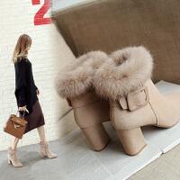 2018冬季新款尖头加绒短靴女高跟兔毛雪地靴毛毛鞋粗跟女靴马丁靴SN1547