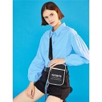 初语港风长袖衬衫女春装新款纯色韩版宽松泡泡袖百搭上衣潮