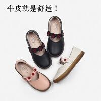 舞玛女童皮鞋春秋2018新款韩版公主鞋中小女孩真皮童鞋儿童单鞋女