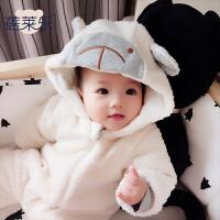 女婴儿连体衣冬季加厚宝宝外出抱衣服秋冬装新生儿外套装棉衣0岁1
