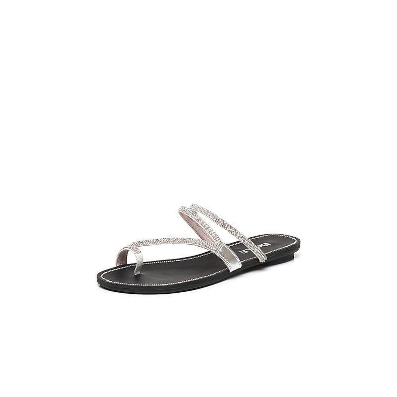 Belle/百丽夏季专柜同款羊皮休闲舒适女凉拖鞋Q9Z1DBT7